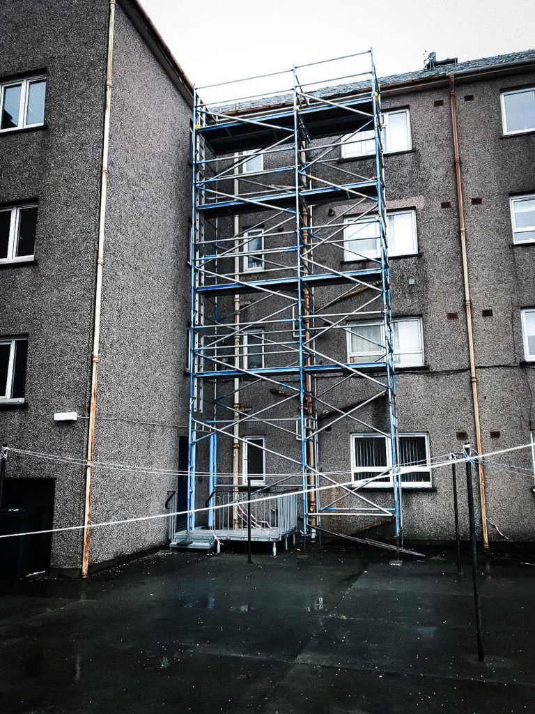 Scaffolding on a residential buiding