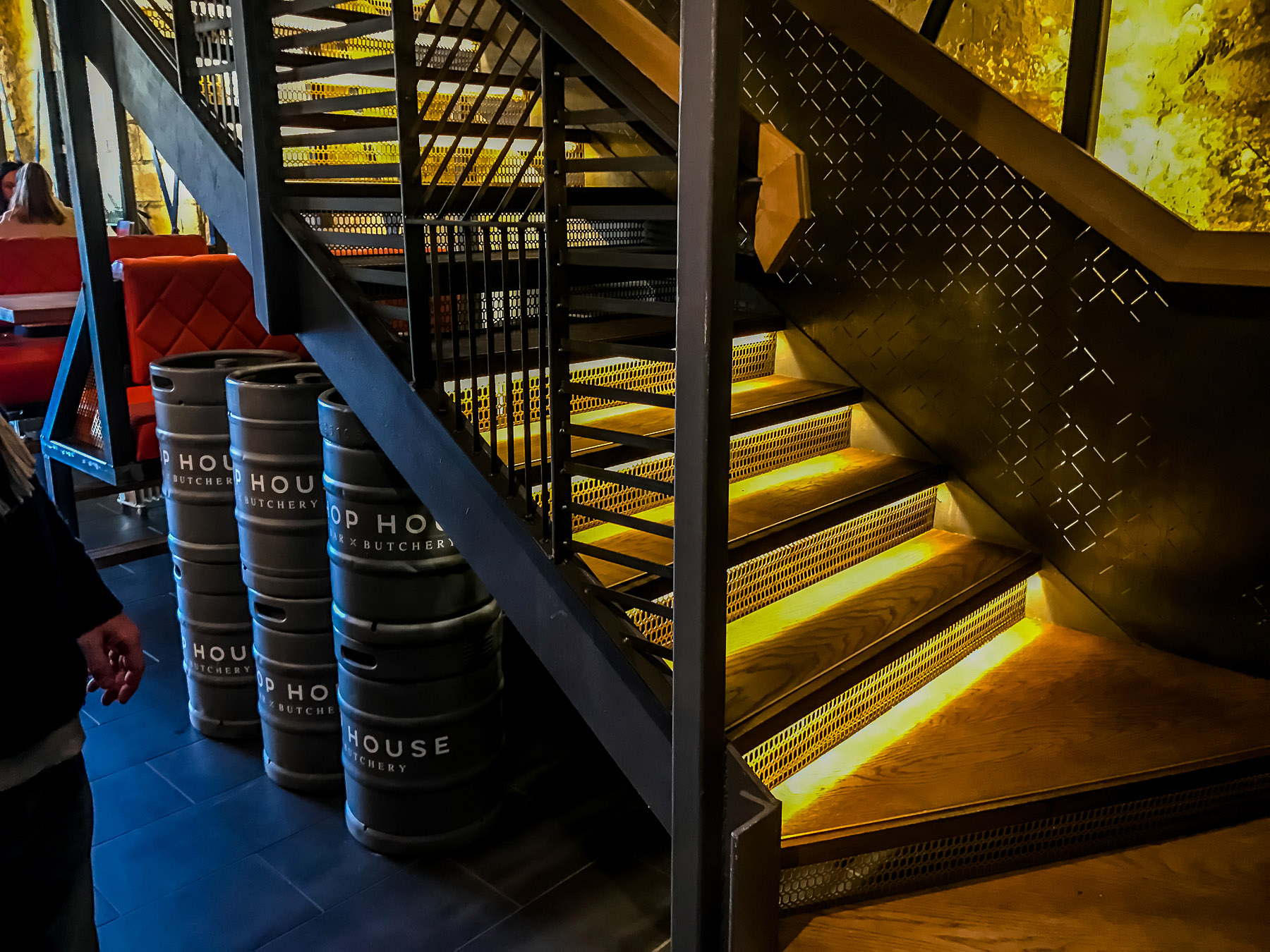 Modern staircase in a restaurant