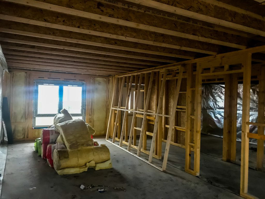 Loft with timber frame and insulation